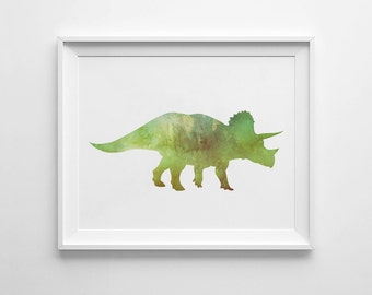 Triceratops Wall Art, Printable Dinosaur, Watercolor Dinosaur, Kids Wall Art, Printable Watercolor, Children Prints, Triceratops Print