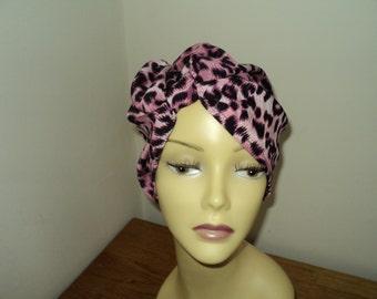 Made in England Animal Print hat turban hijab hair covered Chemo size 59cm Turban-Headband-Great-Gatsby-1920s style