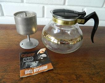 Cory Glass Percolater / Mid Century Modern Coffee Pot