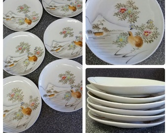 Vintage Asian Plates  Set of 6 Hand formed and Hand painted Small - Pheasant, Flowers and Moriage