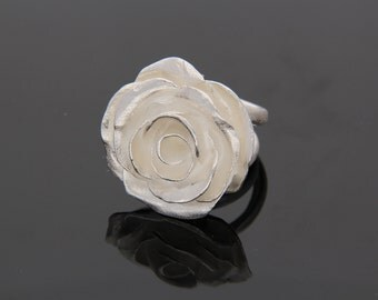Silver Ring with a large Rose