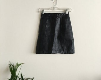 High Rise Leather Skirt W24