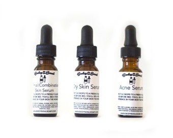 Set of Three Natural Skin Serums: Acne, Dry, and Normal/Combination Skin Serums