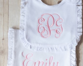 Embroidered Infant Bib and Burp Cloth SET