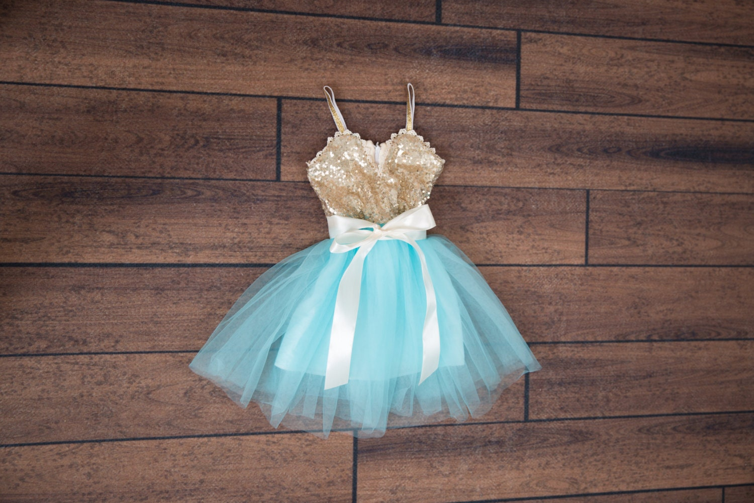Blue Tulle Flower Girl Dress Ball Gown Gold sequin dress