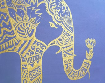 Tribal/Indie Elephant holding flower gold  acrylic paint on your choice of background color