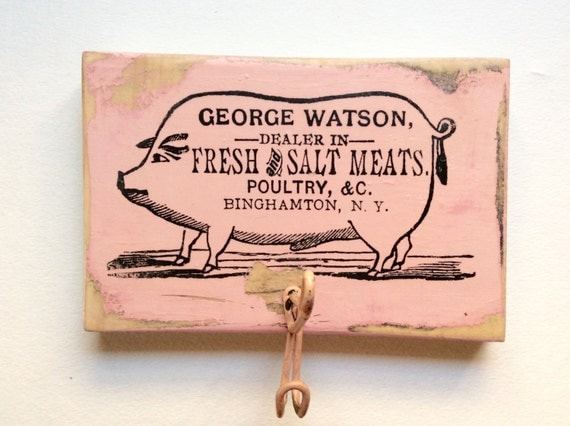 Pig kitchen decor distressed wood pig theme towel by resparked Pig kitchen decor