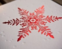 Red Foil Snowflake Greeting Card