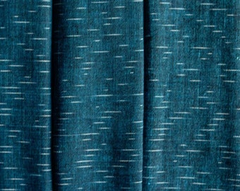 Denim Bluish Green Ikat Fabric