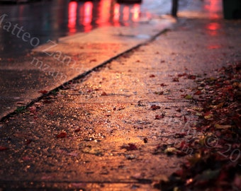 Sidewalk Reflections Photo Print; City Photography, Montreal Photography, Rainy Photography, Sunset Photography || PHYSICAL PRINT