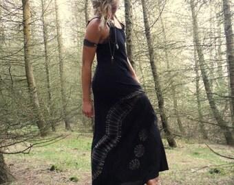 Black Tie Dye Summer Maxi Dress Bohemian Long Dress Hippie Summer Dress