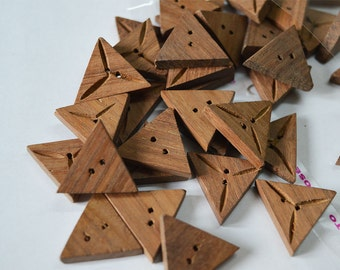 25mm Triangle Wood Buttons Triangular Shaped buttons Natural Wood Dark 2 holes Sewing Buttons Craft Embellishments Scrapbooking