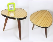 Vintage Tripod, 60s Plant Stand, Mid Century modern flower table stool coffee faux bois wood GDR Germany