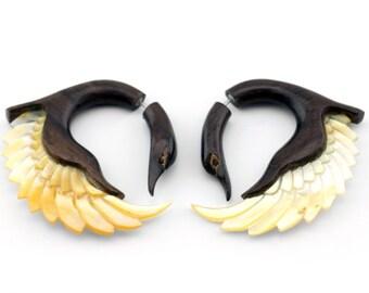 Wood & MOP Angel Wing Spirals Fake Gauges