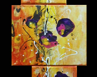 Painting flowers triptic