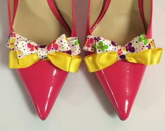 Yellow Butterfly Colorful Spring Ribbon Bow Shoe Clips
