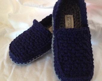 Mens Crochet Chunky Loafer Style Slippers