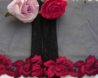 A Lovely Black Tulle Lace with Red Roses