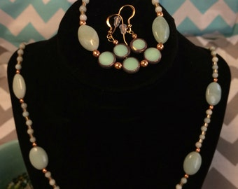 Amazonite gemstone Mint and bronze jewelry set