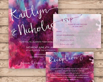 Watercolour Wedding Invitation Suite - Print at Home Files or Printed Invitations - Berry Ruby Watercolour Personalised Wedding Invite Suite