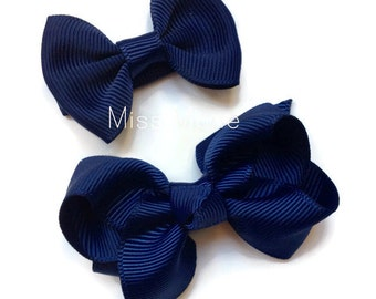 Navy Bows-NON SLIP Hair Bows-Toddler-Girl-Adult-Premium Quality-Stylish-Sweetly Simple-Perfect for sweeping that fringe away.