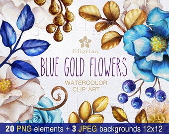 Blue gold FLOWERS watercolor Clip Art. Wedding floral arrangement, leaves, invitation, nursery. 20 elements, 3 backgrounds. Read about usage