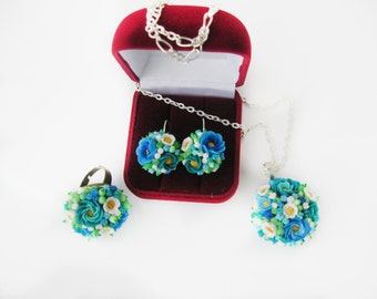 pendant, ring, earrings bouquets of flowers