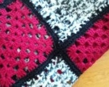 Red and Black Queen Bed Blanket, Afghan, Man sized, machine washable, tumble dry