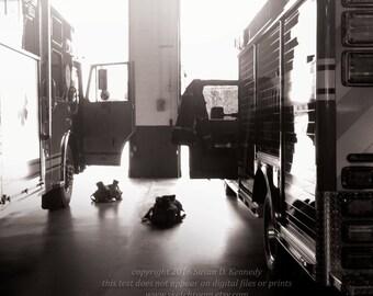 "Art Photograph ""Ready"" Firefighting Digital Printable Art firefighter print Fire Trucks"