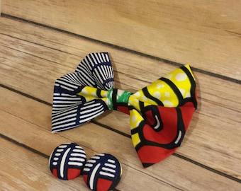African Fashion - African Bow tie - Ankara bow - African accessories - Ankara accessories- Ankara bow tie - Ankara Earrings - Ankara
