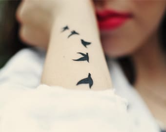 Birds - Temporary Tattoos // Body Art // Cool // Tumblr Style // Summer // Party