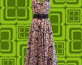 Vintage 80's A.J. Bari Dress • Pink and Black Pattern • Wide Belt • Crinoline
