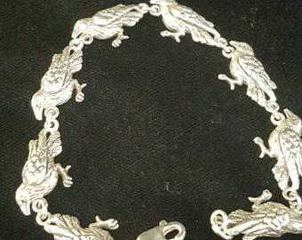 Sterling Silver Hand Made Raven Bird Link Bracelet