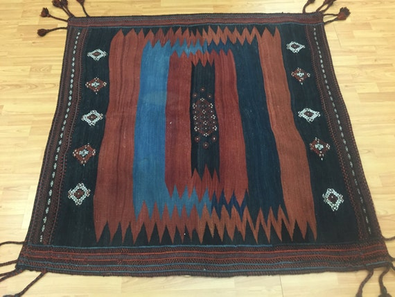 "4'8"" x 4'8"" Square Persian Turkeman Kilim Oriental Rug - 1970s - Hand Made - Vegetable Dye - 100% Wool"