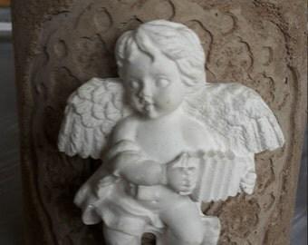 """Beton Kerzenständer oder Blumentopf """" Engel"""" im Vintage Chabby Chic Look!"""