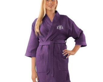Monogrammed Waffled Kimono Robe // Embroidered Cotton Robe // Bridal Party Robes