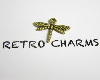 Gold Dragonfly Retro Charm