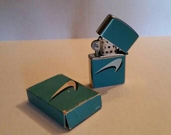 Vintage Newport Cigarette Lighter New in Original Box Flip Lighter Continental Japan Aqua Chrome