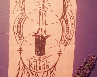 "Hand-printed ""Habitual Rituals"" Patch"