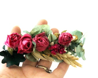 Flower,barrette,clip,dried,preserved,natural,wild,boho,oats,wreath,pink,green,leafs,comb