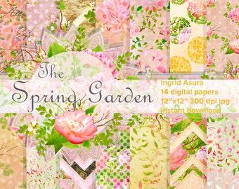 Peony Digital Paper Pack Spring Summer Background Scrapbook Seamless Patterns Multicolor Handpainted