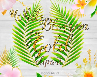 12 Images Digital Clip Art | Tropical Vacation Summer Clipart | Gold White Flowers | Palm Leaf | Golden Leaf