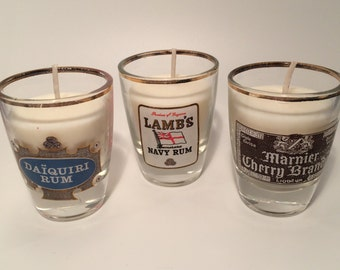 Three scented, shot glass candles