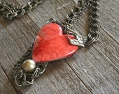Brass Heart (Red) Mixed Media Chains - Princess Length Chain Style Necklace