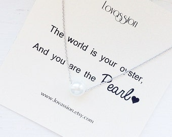 Pearl Necklace, gold pearl necklace, silver pearl necklace, bridesmaid gift, dainty, delicate pearl necklace, dainty, small pearl necklace
