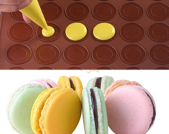 Small 30-Cavity Double Sided Silicone Pastry Macaroon Oven Baking Mold Sheet Mat