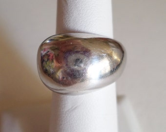 Prex Signed, Sterling Silver 925 Stamped, Made in Italy, Vintage Modernist Ring, Size  6.