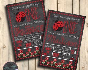 Little Ladybug First Birthday Invitation, Lovebug 1st Birthday Invite, Red Black Invitation, February Birthday, Little Lovebug, Digital