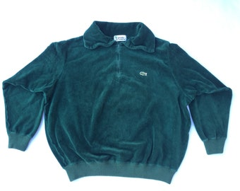 Vintage 80s IZOD LACOSTE Green Velour Sweater Size Small Medium