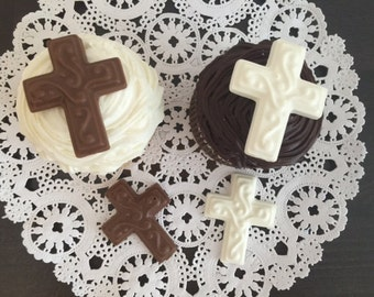 CROSS Chocolate Cupcake Topper(24 qty) - Baptism/Baby Shower/First Holy Communion/Christening/Confirmation/Baby's Christening